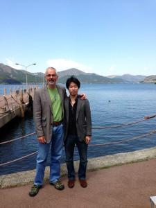 ピーターと箱根に行った時の記念撮影